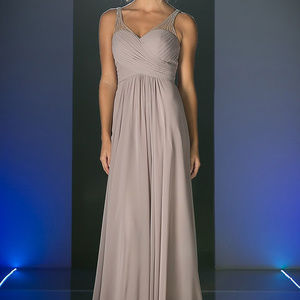 Mauve Sleeveless Prom Long Dress